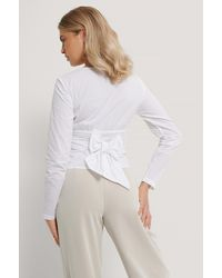 NA-KD - White Tie Waisted Blouse - Lyst