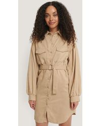 Trendyol Mini Corduroy Belted Dress - Naturel