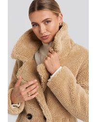 NA-KD Long Teddy Coat - Naturel