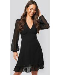 NA-KD Dobby Marked Waist Mini Dress - Zwart