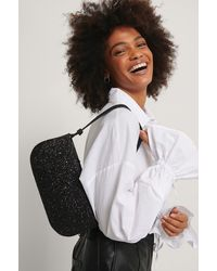 NA-KD Black Glitter Baguette Bag