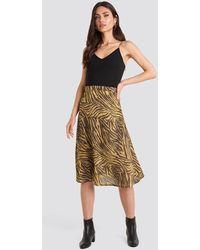 NA-KD Animal Printed Midi Skirt - Bruin