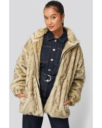 NA-KD Beige Drawstring Faux Fur Jacket - Brown