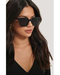 NA-KD Sharp Edge Square Sunglasses - Noir