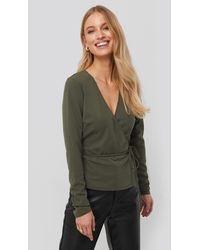 NA-KD - Wrap Over Long Sleeve Top - Lyst
