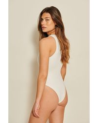 NA-KD Offwhite Recycled High Neck Swimsuit - Multicolor