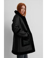 NA-KD Black Bonded Long Coat