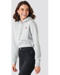Calvin Klein Monogram Embroidery Hoodie - Grau