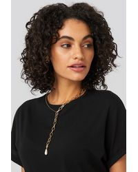 NA-KD Vintage Pearl Chain Necklace - Metallic
