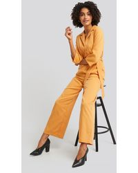 NA-KD Wide Leg Buttoned Jumpsuit - Multicolore