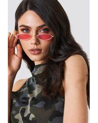 NA-KD - Retro Small Oval Sunglasses Red - Lyst