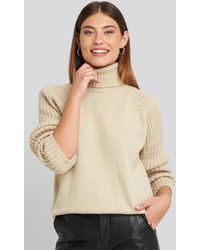 NA-KD High Neck Ribbed Sleeves Sweater - Naturel