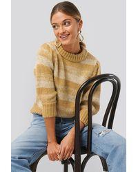 NA-KD Melange Knitted Puff Sleeve Sweater - Geel