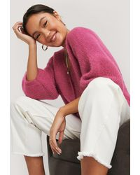 NA-KD Pink Balloon Sleeve Short Knitted Cardigan