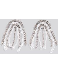NA-KD Multi Rhinestone Pearl Drop Earrings - Metallic