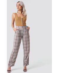 Rut&Circle Brown Check Piping Pant - Multicolor