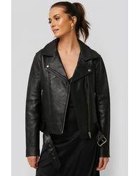 NA-KD Oversized Belted Leather Jacket - Zwart