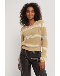 NA-KD Beige Striped Cropped Knitted Sweater - Natural