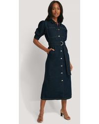 NA-KD Trend Puff Sleeve Belted Denim Dress - Blau
