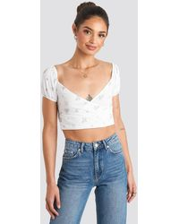 NA-KD White,multicolor Puff Sleeve Wrap Top