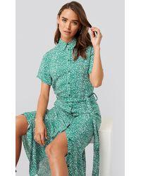 NA-KD Printed Shirt Dress - Groen