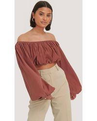 NA-KD Brown Balloon Long Sleeved Cropped Top