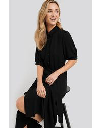 NA-KD Puff Sleeve Belted Midi Dress - Schwarz