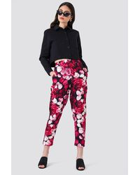 NA-KD Printed Straight Pants - Rose