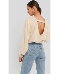NA-KD - Back Overlap Puff Sleeve Knitted Sweater - Lyst