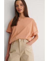 NA-KD Organisch Recht Cropped Oversized T-shirt - Oranje