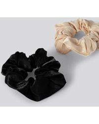NA-KD Double Pack Dull Satin Scrunchies Multicolour
