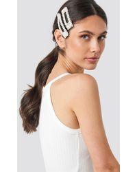 NA-KD Big Pearl Hairclips - Wit