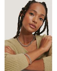 NA-KD Chunky Chain Necklace And Bracelet - Metallic