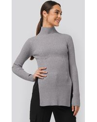 NA-KD Knitted Side Slit Sweater - Gris