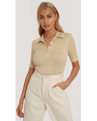 NA-KD Beige Ribbed Gold Button Top - Natural