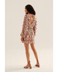 NA-KD Multicolor V-neck Pleated Mini Dress