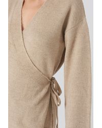 NA-KD Overlap Wide Sleeve Knitted Sweater - Naturel