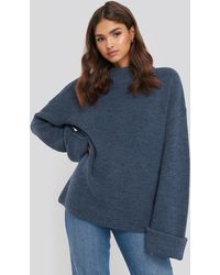NA-KD Ribbed Knitted Turtleneck Sweater - Bleu