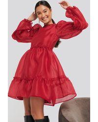 NA-KD - Organza Puff Sleeve Dress - Lyst