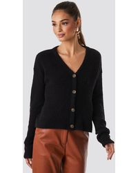 NA-KD Buttoned Knitted Cardigan - Schwarz