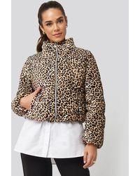 Trendyol Zipper Leopard Pattern Velvet Crop Jacket - Bruin