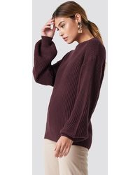 NA-KD Dropped Shoulder Knitted Sweater - Paars