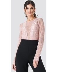NA-KD Long Sleeve Lace Bodysuit - Rose