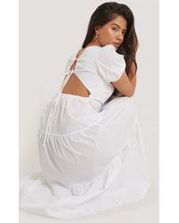 Glamorous White Tiered Puff Sleeve Tie Back Dress