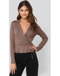 Trendyol Side Knot Detailed Wrap Blouse Brown