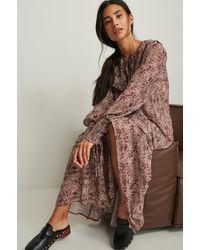NA-KD Boho Doorzichtige Maxi-jurk - Roze