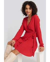NA-KD Trend Overlapped Pleat Detailed Mini Dress - Rood