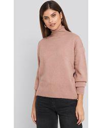 NA-KD Turtleneck Oversized Knitted Sweater - Roze