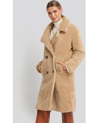 NA-KD Long Teddy Coat - Naturel