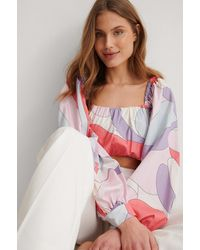 NA-KD Multicolour Balloon Sleeve Cropped Blouse - Pink
